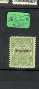 SWAZILAND  (P01006B) 1/- ARMS OVPT ON TRANSVAAL SG 3  MNH