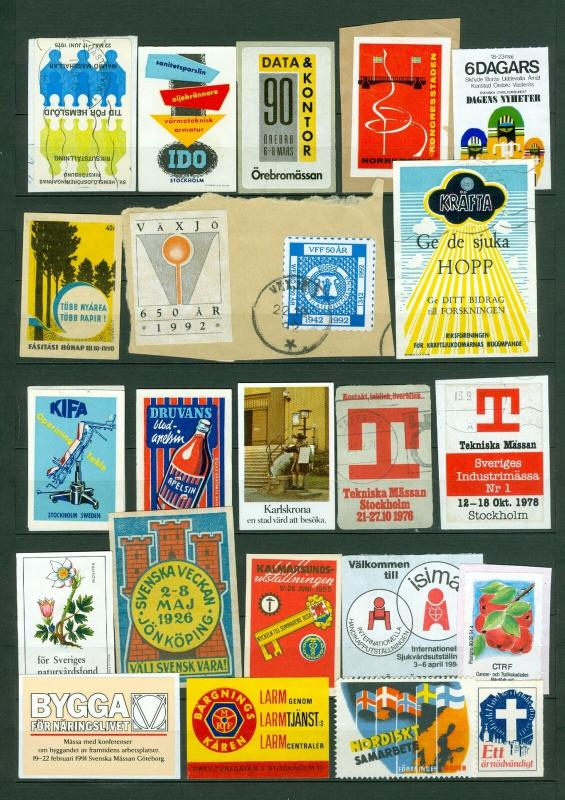 Sweden. Poster Stamp, Lot 23 Diff.1920-1990. Business,Industry,Bicycle,Health.