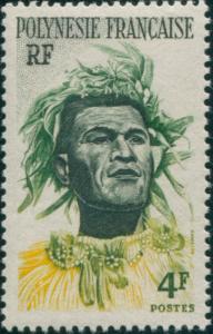 French Polynesia 1958 Sc#186,SG5 4f Polynesian Man MNH