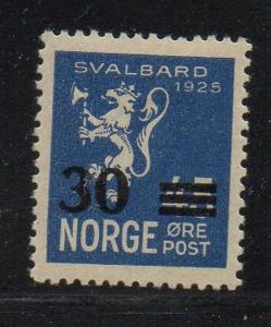 Norway Sc 130 1927 30 ore overprintt on 45 ore Svalbard stamp mint