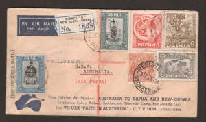 Papua Sc 101 on 1934 PAPUA NG - AUSTRALIA mixed farnking First Flight Cover
