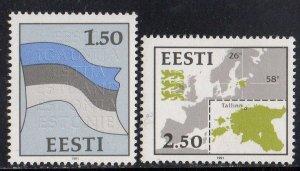 Estonia  1991 1r.50 Flag & 2r.50 Map MH