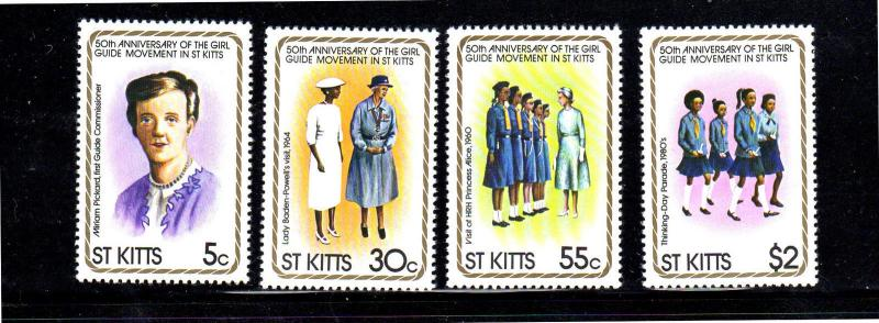 ST. KITTS #82-85  NATIONAL GIRLS GUIDES  MINT  VF NH  O.G