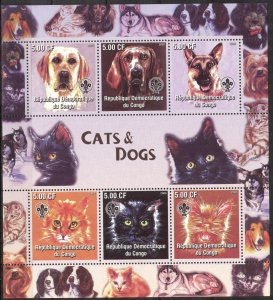 Congo 2005 Scouting Dogs Cats Sheet of 6 Imperf. MNH Cinderella !