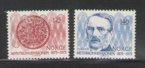 Norway Sc 654-5 1975 Monetary Metric Conversion stamps NH