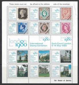 Great Britain LONDON 1980 International Stamp Exhibition Sheet of 12