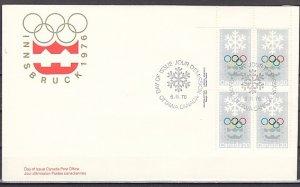 Canada, Scott cat. 689. Innsbruck Olympics, Blk of 4. First day cover. ^