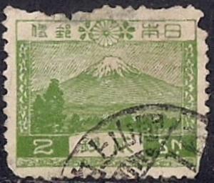 Japan #194 2s Mount Fiji, Green, stamp used F-VF