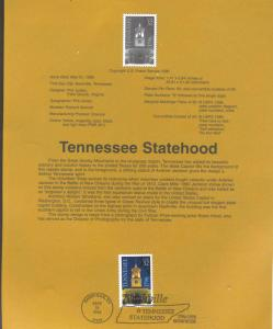 USA 3070 TENNESSEE STATEHOOD STAMP SOUVENIR PAGE