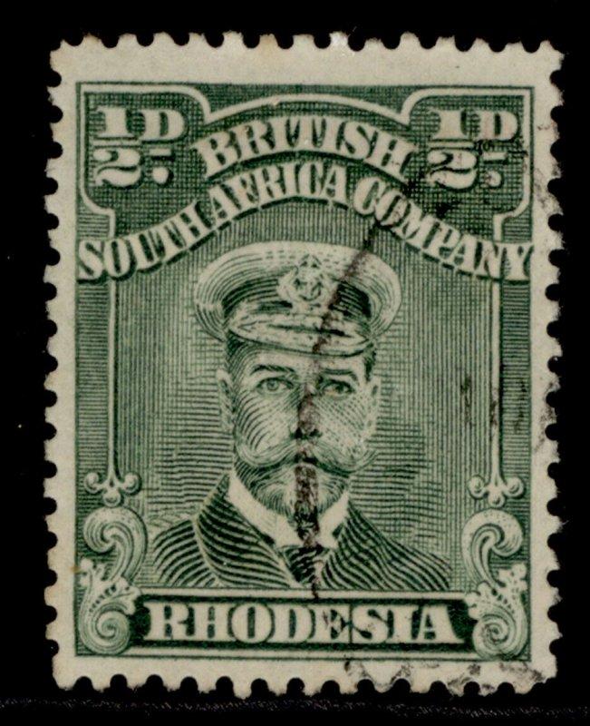RHODESIA GV SG186, ½d blue-green, FINE USED.
