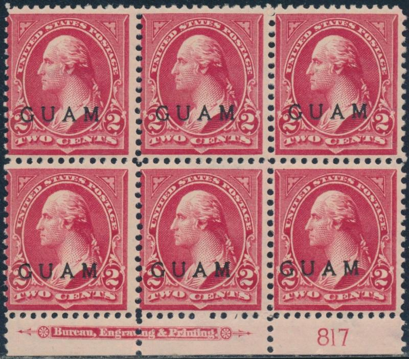 GUAM #2 LOWER PLATE # BLK/6 W/ IMPT VF OG TROPICAL GUM CV $300 BR5765