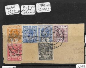 MALAYA STRAITS SETTLEMENTS (P3110B) 1922 KGV MBE  PIECE 1C, 4C NO STOP, 10C RAIS