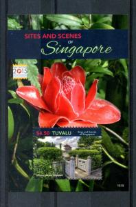Tuvalu 2015 MNH Sites & Scenes Singapore 2015 1v S/S Chinese Garden Flowers