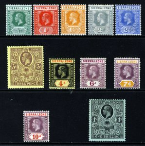 SIERRA LEONE KG V 1912-21 Definitive Part Set Die I SG 112 to SG 124 MINT
