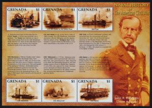 Grenada 3250 MNH Ameican Civil War, Naval History, Warships