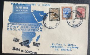 1931 Juba Sudan First Flight Airmail Cover FFC To England Imperial Airways