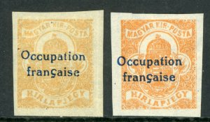 Hungary 1919 French Occupation (2f) Newspaper Sc # 1NP1 VARIETY Mint M73 ⭐⭐⭐⭐⭐