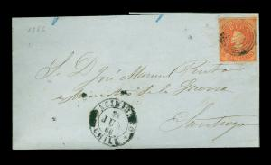 CHILE 1866 COLUMBUS  5c carmine red Sc# 9a on cover from NACIMIENTO 28.JUN.66