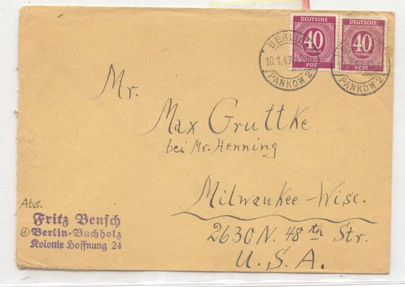 Germany Allied occupation 1947 2 colors 40 pfg