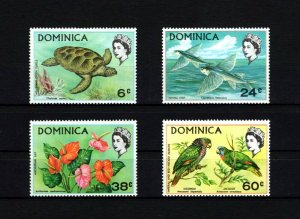 DOMINICA - 1970 - QE II - GREEN TURTLE - FISH - PARROT - FLOWER - # 3 - MNH SET!