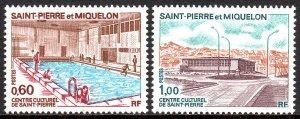 St Pierre & Miquelon 429-430, MNH. Indoor swimming pool, Cultural Center, 1973