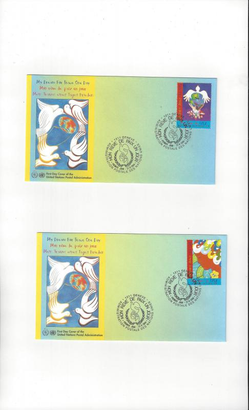 UN Geneva My Dream for Peace 429-30 FDC Geneva Cachet