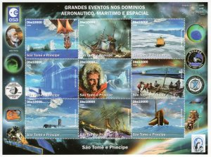 St.Thomas & Prince 2006 Space/Antarctic/Ships/Ballon Sheetlet (9) Perforated MNH