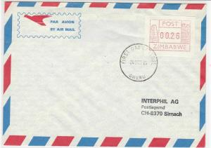 zimbabwe 1985 atm stamps cover ref 19279