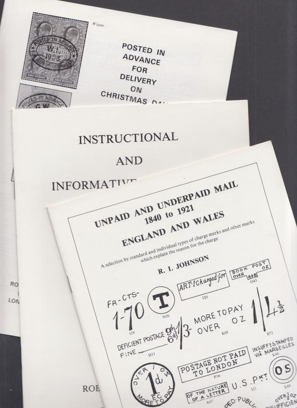 3 different pamphlets about early British cancellations & postal markings. NEW