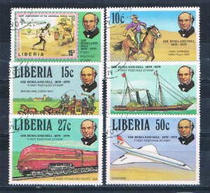 Liberia 842-47 Used set Rowland Hill stamps 1979 (HV0173)+