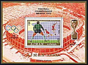 Ajman Michel Block 189A, MNH,World Cup Football Championship souvenir sheet 1970