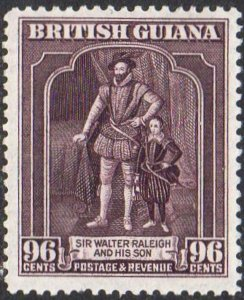 British Guiana 1938 96c Sir Walter Raleigh and son (P 12½) MH