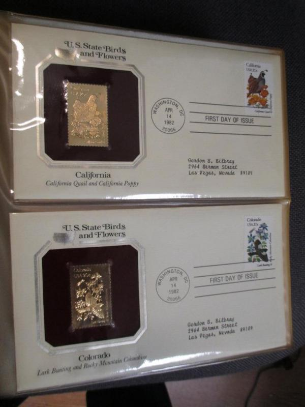 542d366c9b7 1982 Golden Replicas Of US State Birds   Flowers Stamps - All 50 Covers - (
