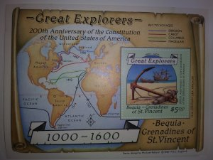 BEQUIA ST. VINCENT GREAT EXPLORERS SHEETLET MINT NEVER HINGED