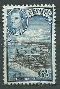 Ceylon George VI  SG 388  Used  heavy cancel has pierced ...