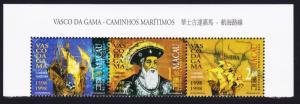 Macao Macau Vasco da Gama 1598 Top strip of 3v 1998 MNH SG#1040-1042 SC#926-928