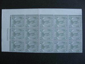 Malaya Trengganu MNH Sc 57  lower left block of 15 check it out!