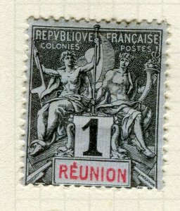 FRANCE; COLONIES REUNION 1892 classic Tablet type issue used 1c. value