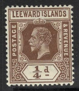 LEEWARD ISLANDS SG81var 1931-2 ¼d BROWN REVERSION TO DIE I SHAVED I MTD MINT
