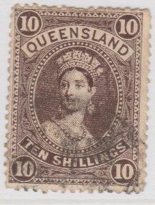 British Colony Australia Queensland 1907 10s Sepia Used SG 311a A22P19F8965