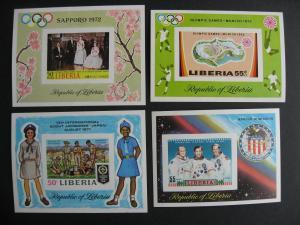 Liberia MNH 4 rarer imperf souvenir sheets Sc C188, C190, C192, C193