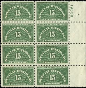 US Scott #QE2 Margin Block of 8 with Plate Number Mint Never Hinged