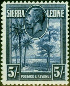 Sierra Leone 1932 5s Deep Blue SG165 Fine & Fresh Mtd Mint