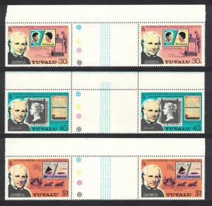 Tuvalu Death Cent of Sir Rowland Hill 3v Horizontal Gutter Pairs SG#131-133