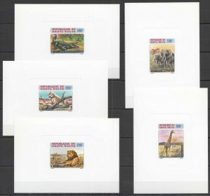 F0371 1973 UPPER VOLTA WILD ANIMALS FAUNA !!! RARE CARDBOARD 5BL MNH
