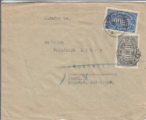 1923, Liegnitz, Germany to Paari, South Africa, Inflation Cover (32226)