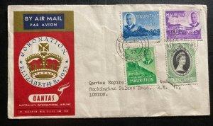 1953 Port Louis Mauritius Cover FDC To London UK Queen Elizabeth II Coronation B