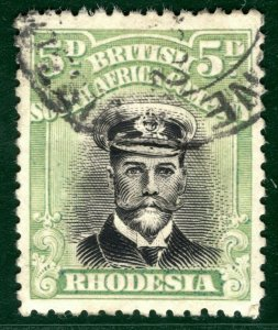 RHODESIA BSACo KGV Admiral SG.255f 5d (Die IIIA) 1917-20 Used Cat £350 EBLUE36