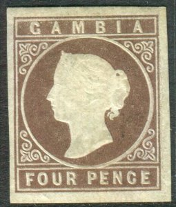 GAMBIA-1871 4d Pale Brown.  A unused no gum 4 margin example Sg 2