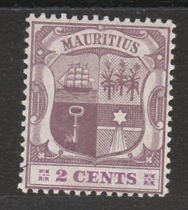 MAURITIUS 1904 ARMS 2C WMK MULTI CROWN CA